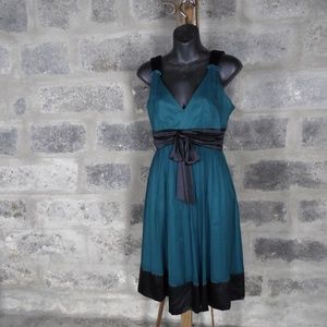 deep teal crinkle silk black accent cocktail dress